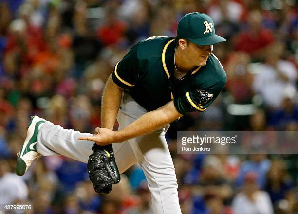 Drew Pomeranz of the Oakland Athletics throws against the Texas Rangers in the sixth inning at Globe Life Park in Arlington on September 12 2015 in...
