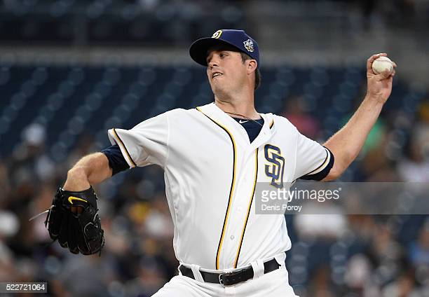 Drew Pomeranz of the San Diego Padres pitches during the first inning of a baseball game against the Pittsburgh Pirates at PETCO Park on April 20...