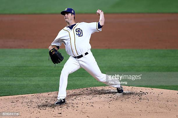 Drew Pomeranz of the San Diego Padres pitches during the game against the Pittsburgh Pirates at PETCO Park on Wednesday April 20 2016 in San Diego...