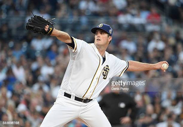 Drew Pomeranz of the San Diego Padres pitches during the second inning of a baseball game against the New York Yankees at PETCO Park on July 2 2016...