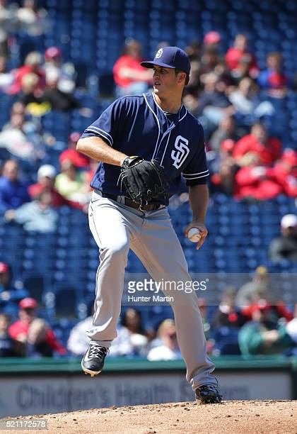 Drew Pomeranz of the San Diego Padres throws a pitch in the first inning during a game against the Philadelphia Phillies at Citizens Bank Park on...