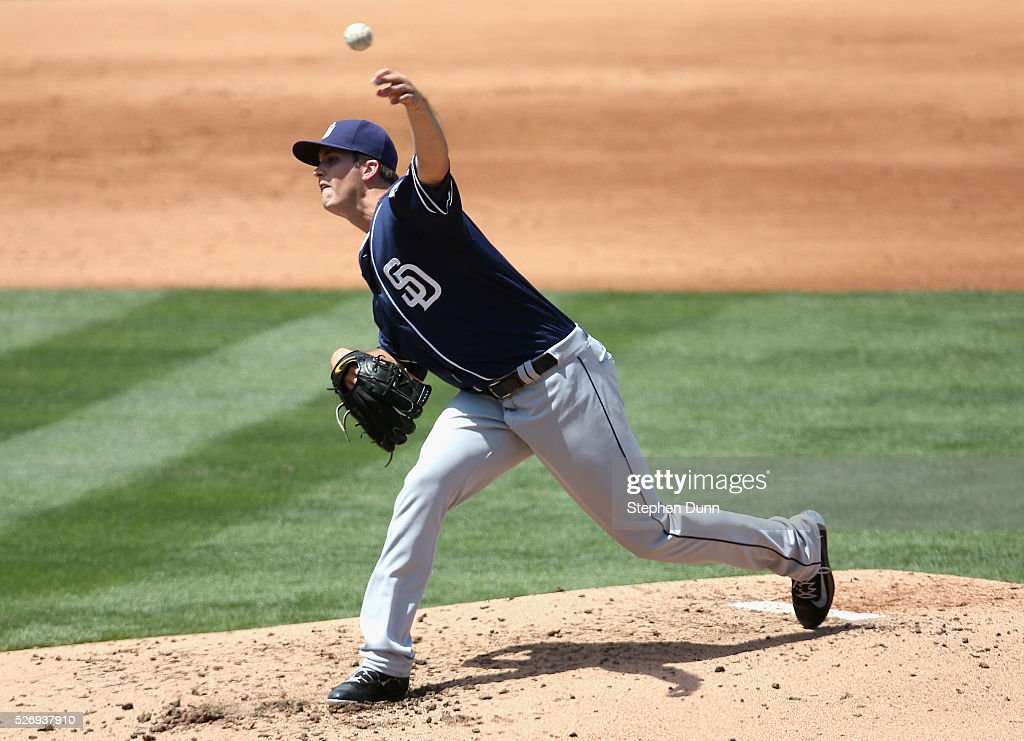 Drew Pomeranz #13 of the San Diego Padres throws a pitch in the second inning against the Los Angeles Dodgers at Dodger Stadium on May 1, 2016 in Los Angeles, California.