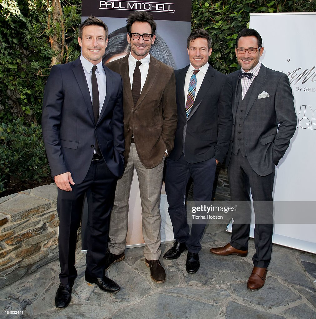 Drew Riker Lawrence Zarian; Gregory Zarian and Derek Riker attend the Greg Lavoi spring 2014 runway presentation at Kyoto Gardens on October 13, 2013 in Los Angeles, California.