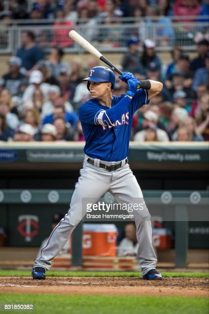 Drew Robinson of the Texas Rangers bats against the Minnesota Twins on August 5 2017 at Target Field in Minneapolis Minnesota The Rangers defeated...