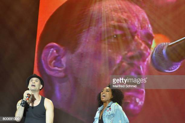 Drew Sarich and Ana Milva Gomes perform on stage a 'Falco Tribute' during the Day 2 at Donauinselfest 2017 at Donauinsel on June 24 2017 in Vienna...