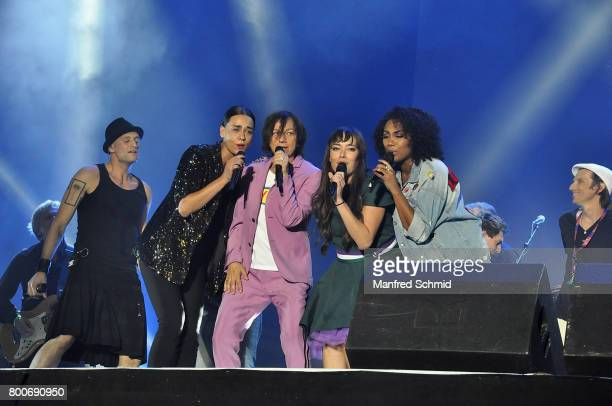 Drew Sarich Edita Malovcic Gianna Nannini Yasmo and Ana Milva Gomes perform on stage a 'Falco Tribute' during the Day 2 at Donauinselfest 2017 at...