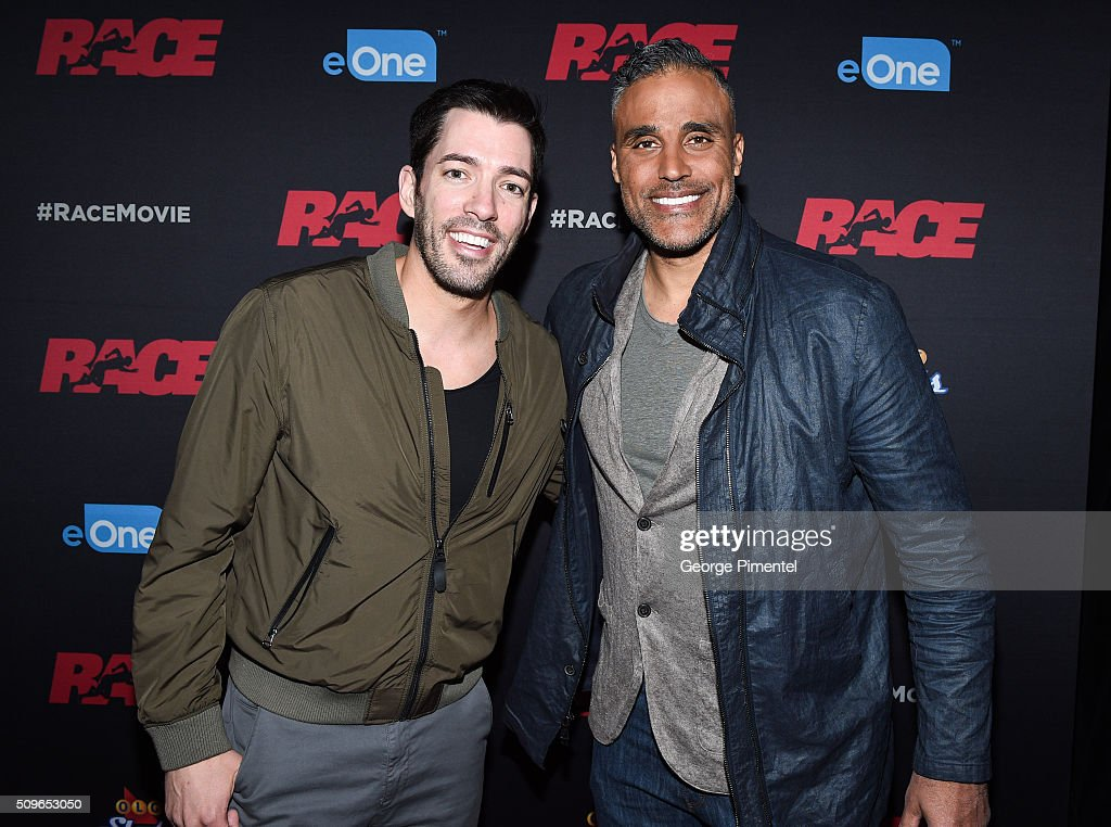 Drew Scott and actor <a gi-track='captionPersonalityLinkClicked' href=/galleries/search?phrase=Rick+Fox&family=editorial&specificpeople=201971 ng-click='$event.stopPropagation()'>Rick Fox</a> attend the Canadian Red Carpet Premiere of 'Race' at Scotiabank Theatre on February 11, 2016 in Toronto, Canada.