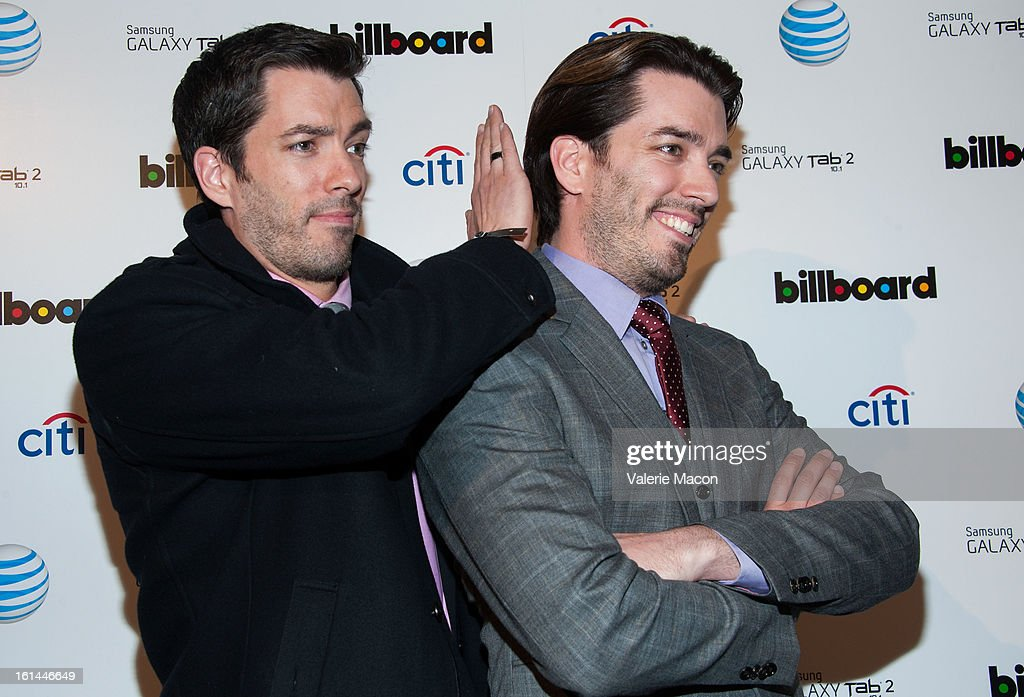 <a gi-track='captionPersonalityLinkClicked' href=/galleries/search?phrase=Drew+Scott+-+Canadian+Actor&family=editorial&specificpeople=15095917 ng-click='$event.stopPropagation()'>Drew Scott</a> and Jonathan Scott attends The Billboard GRAMMY After Party at The London Hotel on February 10, 2013 in West Hollywood, California.