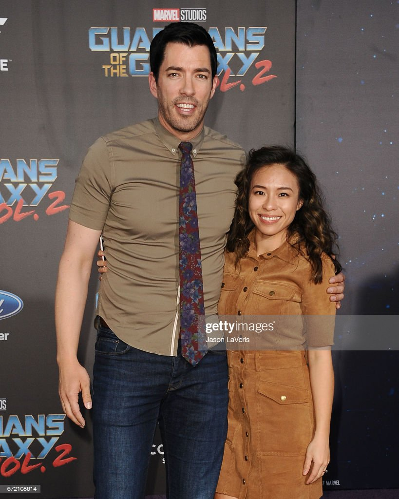 Drew Scott and Linda Phan attend the premiere of 'Guardians of the Galaxy Vol. 2' at Dolby Theatre on April 19, 2017 in Hollywood, California.