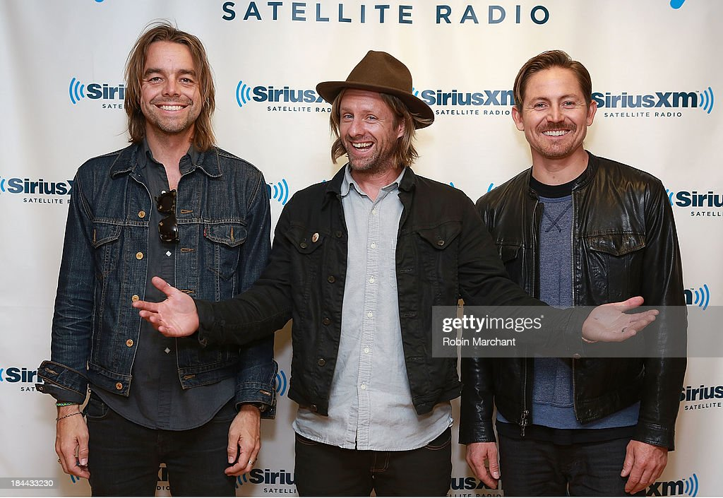 Drew Shirley, <a gi-track='captionPersonalityLinkClicked' href=/galleries/search?phrase=Jon+Foreman&family=editorial&specificpeople=208895 ng-click='$event.stopPropagation()'>Jon Foreman</a>, Chad Matthew Butler of Switchfoot visits SiriusXM Studios on October 9, 2013 in New York City.