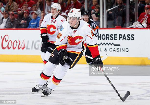 Drew Shore of the Calgary Flames in action during the NHL game against the Arizona Coyotes at Gila River Arena on January 15 2015 in Glendale Arizona...