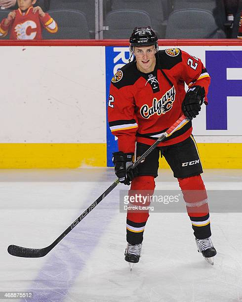 Drew Shore of the Calgary Flames skates against the Arizona Coyotes during an NHL game at Scotiabank Saddledome on April 7 2015 in Calgary Alberta...