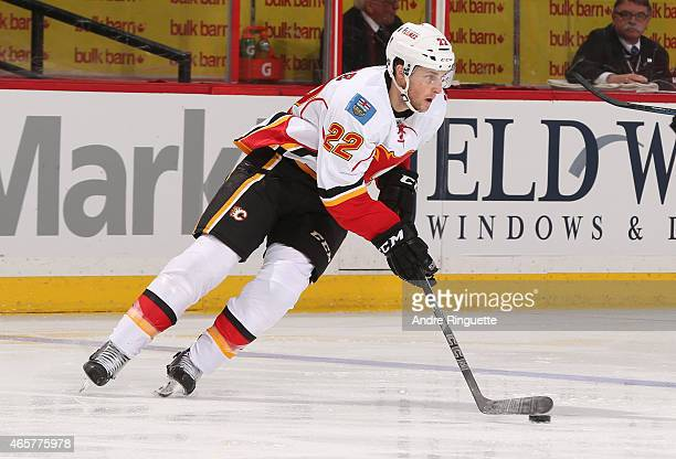 Drew Shore of the Calgary Flames skates against the Ottawa Senators at Canadian Tire Centre on March 8 2015 in Ottawa Ontario Canada