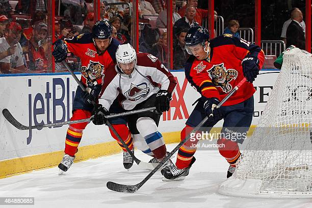 Drew Shore of the Florida Panthers and MarcAndre Cliche of the Colorado Avalanche battle for control of a loose puck behind the net at the BBT Center...