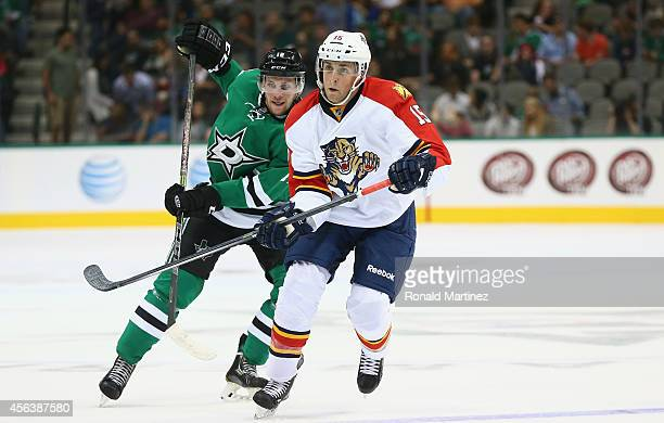 Drew Shore of the Florida Panthers during a preseason game at American Airlines Center on September 29 2014 in Dallas Texas