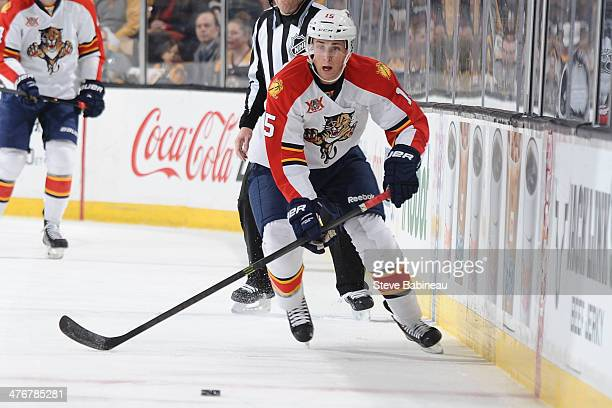 Drew Shore of the Florida Panthers skates against the Boston Bruins at the TD Garden on March 4 2014 in Boston Massachusetts