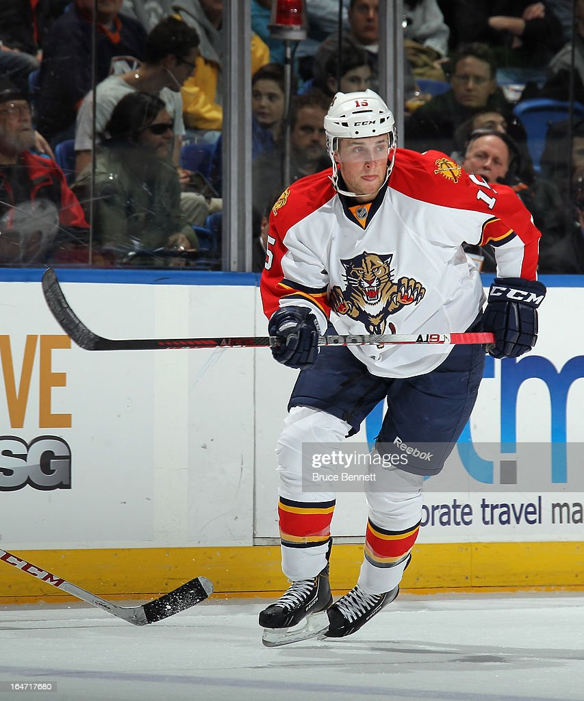 Drew Shore #15 of the Florida Panthers skates against the New York Islanders at the Nassau Veterans Memorial Coliseum on March 24, 2013 in Uniondale, New York.
