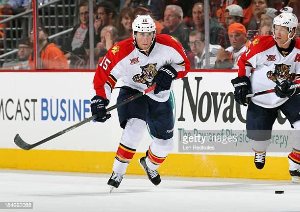 Drew Shore of the Florida Panthers skates against the Philadelphia Flyers on October 8 2013 at the Wells Fargo Center in Philadelphia Pennsylvania