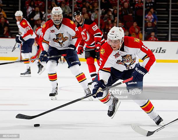 Drew Shore of the Florida Panthers skates in an NHL hockey game against the New Jersey Devils at Prudential Center on January 11 2014 in Newark New...