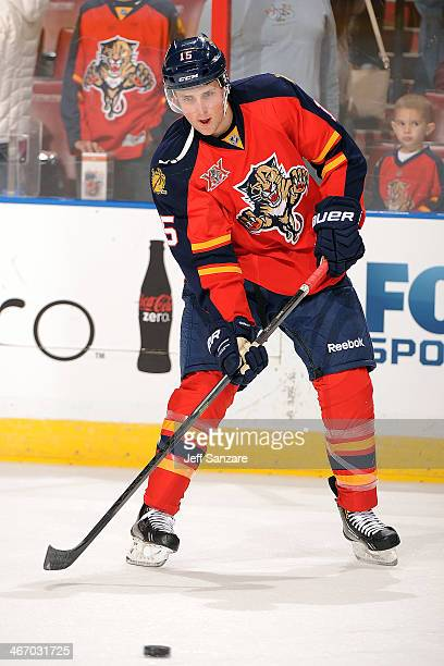 Drew Shore of the Florida Panthers skates on the ice prior to the start of the game against the Colorado Avalanche at the BBT Center on January 24th...