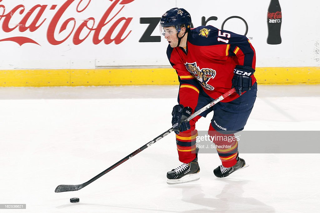 Drew Shore #15 of the Florida Panthers skates with the puck against the Boston Bruins at the BB&T Center on February 24, 2013 in Sunrise, Florida.