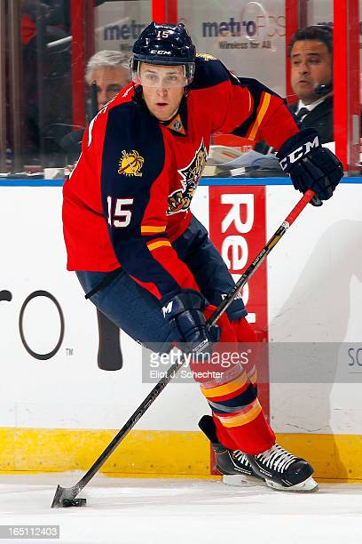 Drew Shore of the Florida Panthers skates with the puck against the Buffalo Sabres at the BBT Center on March 28 2013 in Sunrise Florida