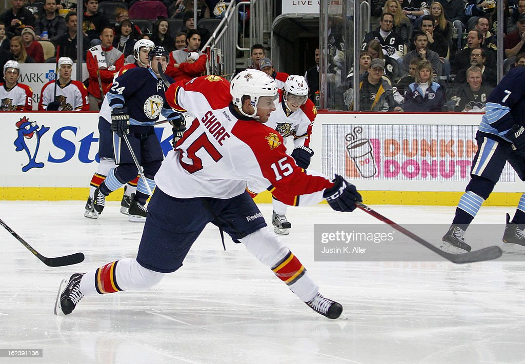 Drew Shore #15 of the Florida Panthers takes a shot on goal against the Pittsburgh Penguins during the game at Consol Energy Center on February 22, 2013 in Pittsburgh, Pennsylvania.