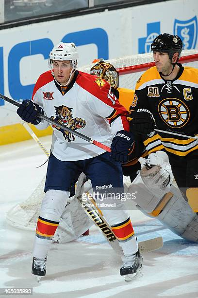 Drew Shore of the Florida Panthers watches the play against Zdeno Chara of the Boston Bruins at the TD Garden on January 28 2014 in Boston...