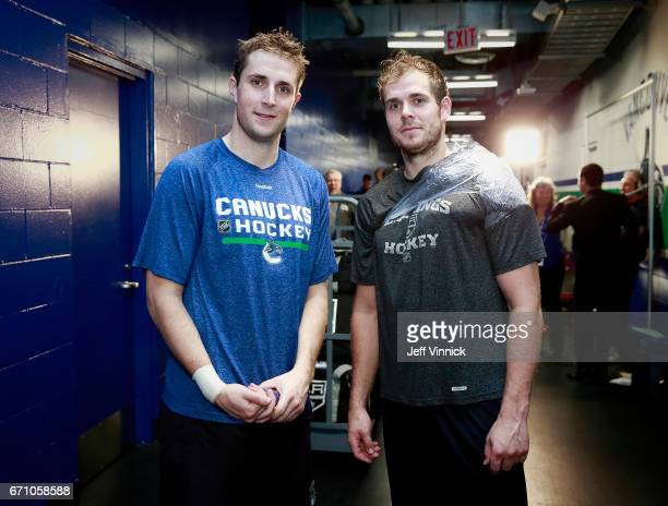 Drew Shore of the Vancouver Canucks and his brother Nick Shore of the Los Angeles Kings stand together after their NHL game at Rogers Arena March 31...