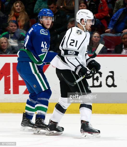 Drew Shore of the Vancouver Canucks and Nick Shore of the Los Angeles Kings skate up ice during their NHL game at Rogers Arena March 31 2017 in...