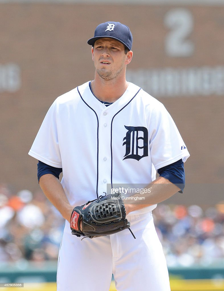 <a gi-track='captionPersonalityLinkClicked' href=/galleries/search?phrase=Drew+Smyly&family=editorial&specificpeople=5928397 ng-click='$event.stopPropagation()'>Drew Smyly</a> #33 of the Detroit Tigers looks on during the game against the Cleveland Indians at Comerica Park on July 20, 2014 in Detroit, Michigan. The Tigers defeated the Indians 5-1.
