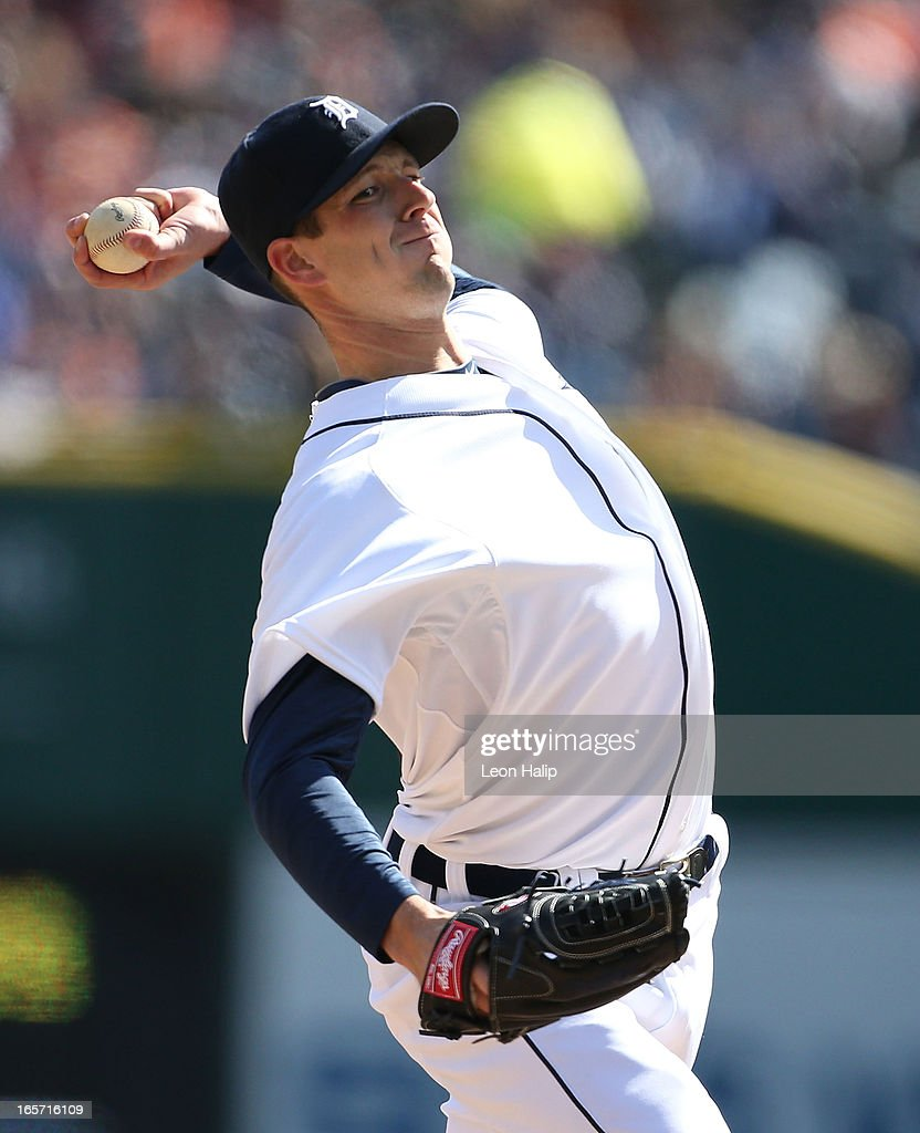 Drew Smyly #33 of the Detroit Tigers pitches in the eighth inning during the game against the New York Yankees in the home opener at Comerica Park on April 5, 2013 in Detroit, Michigan. The Tigers defeated the Yankees 8-3. Photo by Leon Halip/Getty Images)