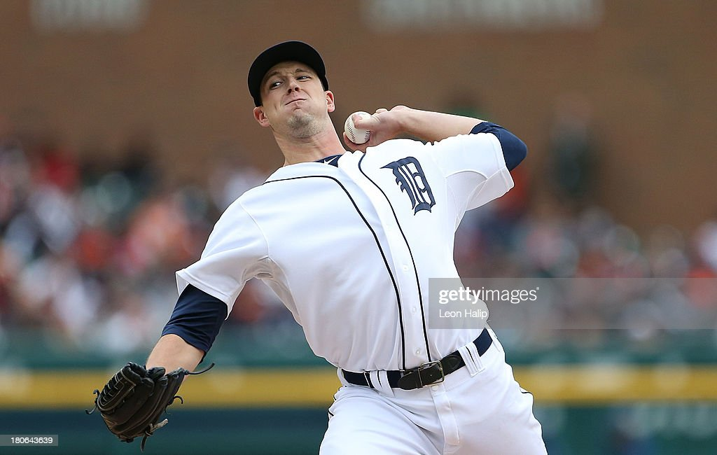 <a gi-track='captionPersonalityLinkClicked' href=/galleries/search?phrase=Drew+Smyly&family=editorial&specificpeople=5928397 ng-click='$event.stopPropagation()'>Drew Smyly</a> #33 of the Detroit Tigers pitches in the eighth inning during the game against the Kansas City Royals at Comerica Park on September 15, 2013 in Detroit, Michigan.