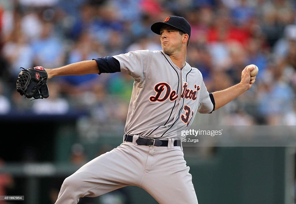 Drew Smyly #33 of the Detroit Tigers throws in the first inning during a game against the Kansas City Royals at Kauffman Stadium on July 10, 2014 at Kauffman Stadium in Kansas City, Missouri.