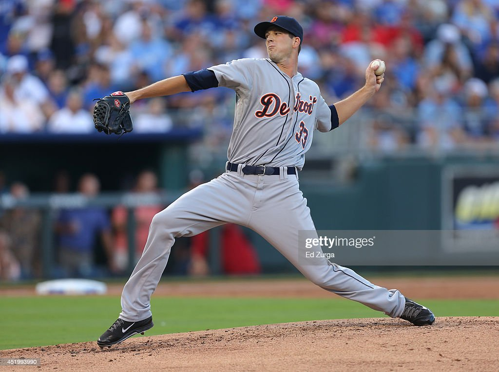 <a gi-track='captionPersonalityLinkClicked' href=/galleries/search?phrase=Drew+Smyly&family=editorial&specificpeople=5928397 ng-click='$event.stopPropagation()'>Drew Smyly</a> #33 of the Detroit Tigers throws in the first inning during a game against the Kansas City Royals at Kauffman Stadium on July 10, 2014 at Kauffman Stadium in Kansas City, Missouri.