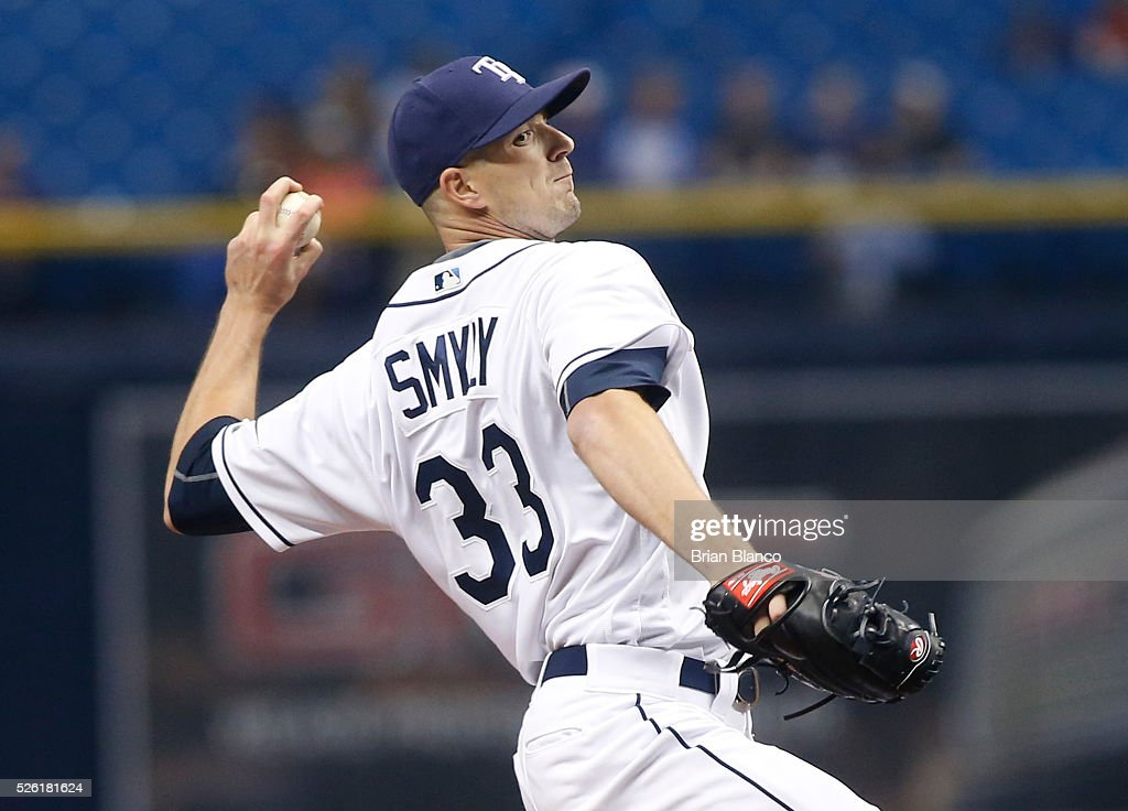 <a gi-track='captionPersonalityLinkClicked' href=/galleries/search?phrase=Drew+Smyly&family=editorial&specificpeople=5928397 ng-click='$event.stopPropagation()'>Drew Smyly</a> #33 of the Tampa Bay Rays pitches during the first inning of a game against the Toronto Blue Jays on April 29, 2016 at Tropicana Field in St. Petersburg, Florida.