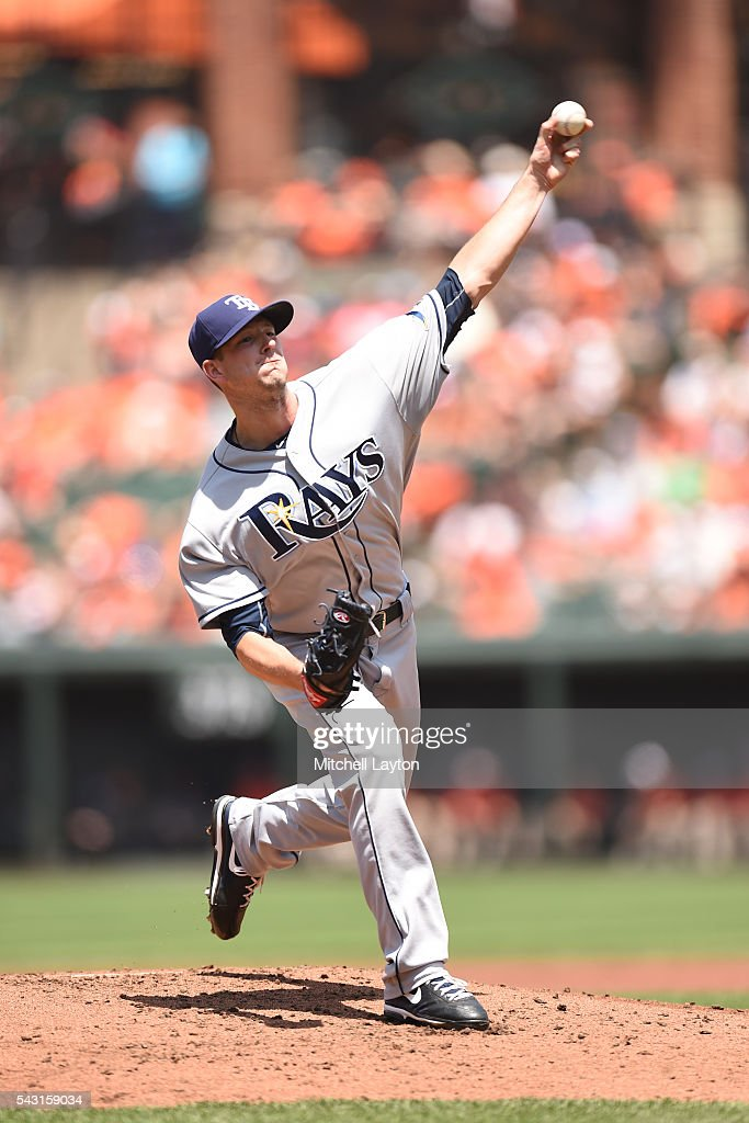 <a gi-track='captionPersonalityLinkClicked' href=/galleries/search?phrase=Drew+Smyly&family=editorial&specificpeople=5928397 ng-click='$event.stopPropagation()'>Drew Smyly</a> #33 of the Tampa Bay Rays pitches in the first inning during a baseball game against the TBaltimore Orioles at Oriole Park at Camden Yards on June 26, 2016 in Baltimore, Maryland.