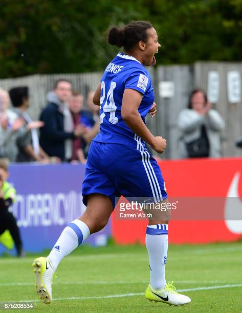 Drew Spence of Chelsea celebrates after scoring with a header to out her side 30 up during the FA WSL 1 match between Chelsea Ladies and Yeovil Town...