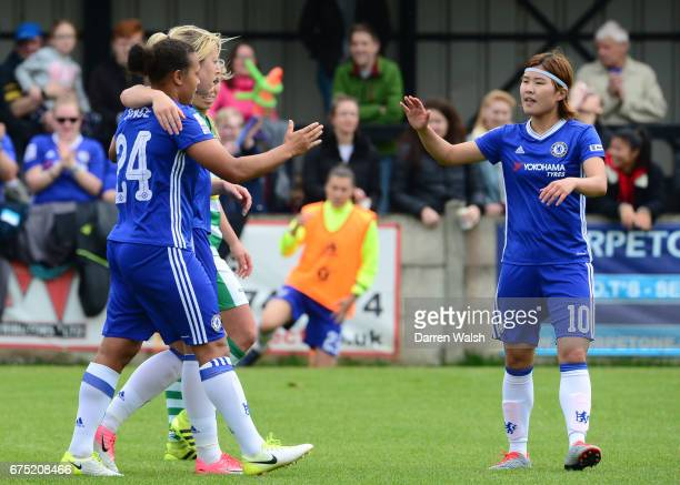 Drew Spence of Chelsea celebrates with her team mates after scoreing with a header to out her side 30 up during the FA WSL 1 match between Chelsea...