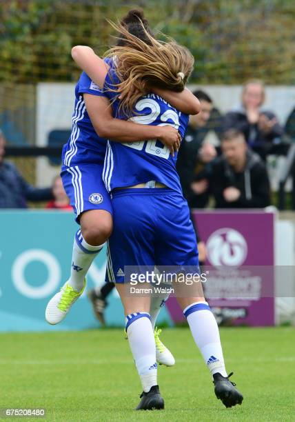 Drew Spence of Chelsea celebrates with team mate Erin Cuthbert after scoring with a header to out her side 30 up during the FA WSL 1 match between...