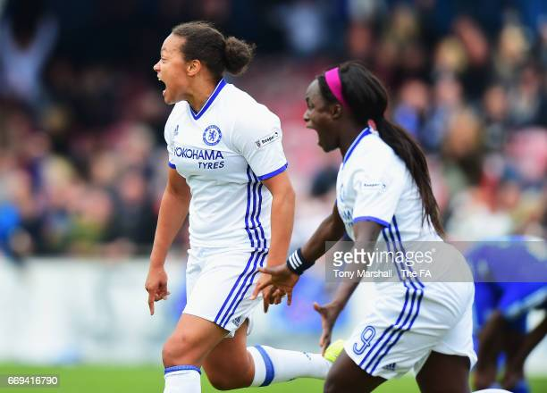 Drew Spence of Chelsea Ladies celebrates scoring her team's opening goal during the SSE Women's FA Cup SemiFinal match between Birmingham City Ladies...