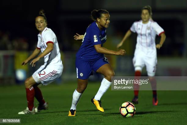 Drew Spence of Chelsea Ladies in action UEFA Womens Champions League Round of 32 First Leg match between Chelsea Ladies and Bayern Munich at The...