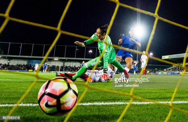 Drew Spence of Chelsea Ladies scores the first goal during the UEFA Womens Champions League Round of 32 First Leg match between Chelsea Ladies and...