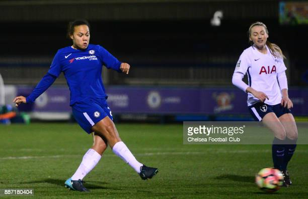 Drew Spence of Chelsea scores to make it 41 during a Continental Tyres Cup Match between Chelsea Ladies and Tottenham Ladies at The Cherry Red...