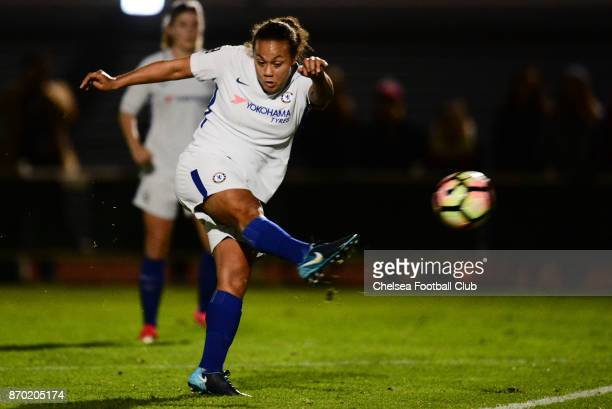 Drew Spence of Chelsea takes a shot on goal during a Continental Tyres Cup match between Bristol City Women and Chelsea Ladies at on November 4 2017...
