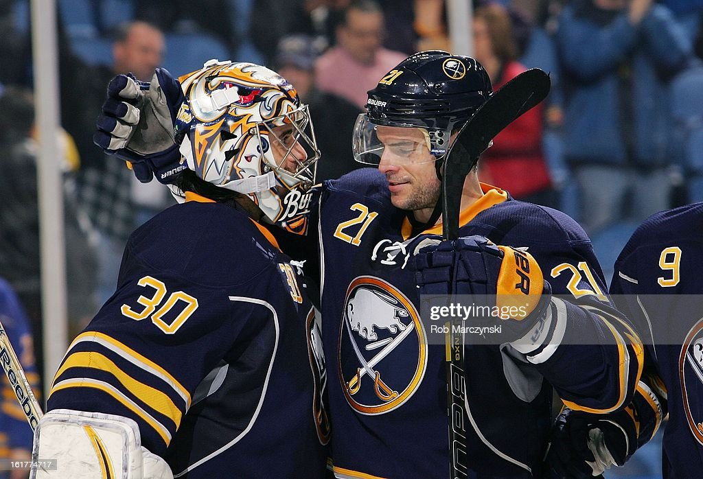 <a gi-track='captionPersonalityLinkClicked' href=/galleries/search?phrase=Drew+Stafford&family=editorial&specificpeople=220617 ng-click='$event.stopPropagation()'>Drew Stafford</a> #21 and Ryan Miller #30 of the Buffalo Sabres celebrate a 4-2 victory over the Boston Bruins on February 15, 2013 at the First Niagara Center in Buffalo, New York.