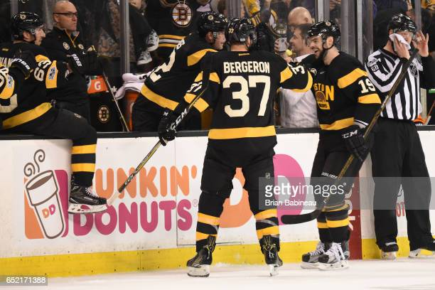Drew Stafford of the Boston Bruins celebrates his goal against the Philadelphia Flyers at the TD Garden on March 11 2017 in Boston Massachusetts