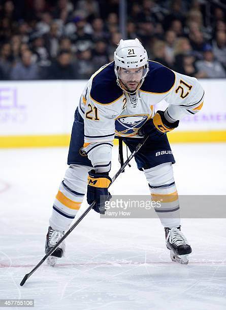 Drew Stafford of the Buffalo Sabres lines up for a faceoff against the Los Angeles Kings at Staples Center on October 23 2014 in Los Angeles...