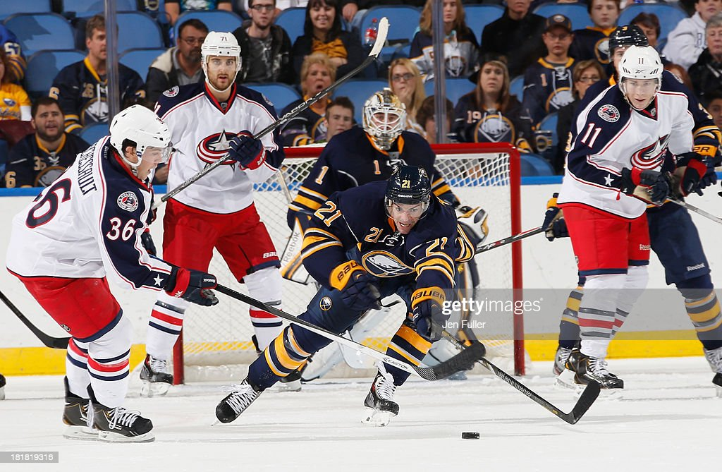 <a gi-track='captionPersonalityLinkClicked' href=/galleries/search?phrase=Drew+Stafford&family=editorial&specificpeople=220617 ng-click='$event.stopPropagation()'>Drew Stafford</a> #21 of the Buffalo Sabres reaches to clear the puck away from Jonathan Marchessault #36 of the Columbus Blue Jackets during their preseason game at First Niagara Center on September 25, 2013 in Buffalo, New York.
