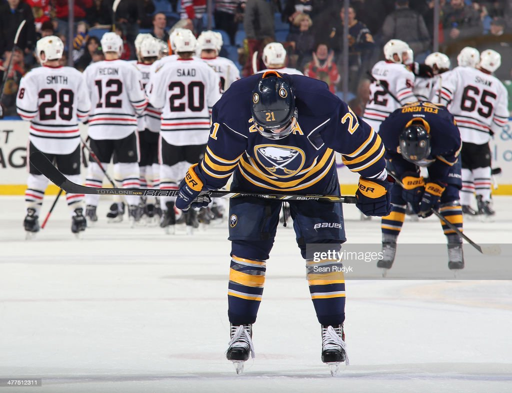 <a gi-track='captionPersonalityLinkClicked' href=/galleries/search?phrase=Drew+Stafford&family=editorial&specificpeople=220617 ng-click='$event.stopPropagation()'>Drew Stafford</a> #21 of the Buffalo Sabres reflects on the Sabres 2-1 loss against the the Chicago Blackhawks at First Niagara Center on March 9, 2014 in Buffalo, New York.